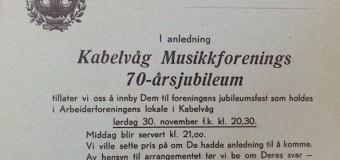Invitasjon til 70-års jubileum (1957)
